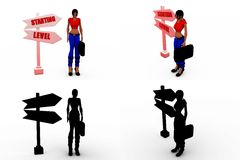 3d woman starting level concept collections with alpha and shadow channel Stock Photography