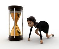 3d woman starting time of race concept Royalty Free Stock Images