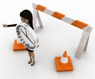 3d woman stop barrier and traffic cones and clock in hand concept Royalty Free Stock Photo