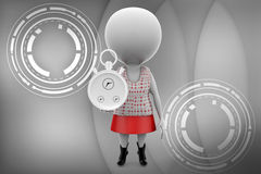 3d woman with stop watch illustration Royalty Free Stock Photography