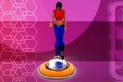3d woman with stop watch illustration Royalty Free Stock Image