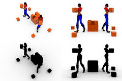 3d woman storage concept collections with alpha and shadow channel Stock Images