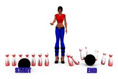 3d woman strat end concept Royalty Free Stock Images