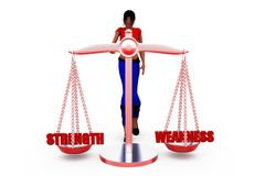 3d woman strength concept Royalty Free Stock Photos
