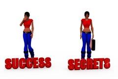 3d woman success secrets concept Stock Photography