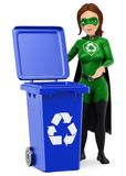 3D Woman superhero of recycling standing with a blue bin for rec. 3d environment people illustration. Woman superhero of recycling standing with a blue bin for royalty free illustration