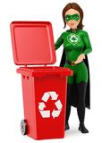 3D Woman superhero of recycling standing with a red bin for recycling. 3d environment people illustration. Woman superhero of recycling standing with a red bin vector illustration