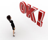3d woman surprised looking and standing in front OK text with exclamation mark concept Royalty Free Stock Photos