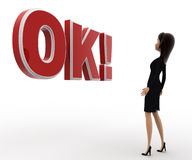 3d woman surprised looking and standing in front OK text with exclamation mark concept Royalty Free Stock Images