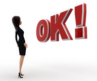 3d woman surprised looking and standing in front OK text with exclamation mark concept Royalty Free Stock Photo