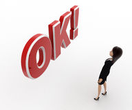 3d woman surprised looking and standing in front OK text with exclamation mark concept Stock Images