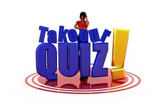 3d woman take our quiz concept Stock Images