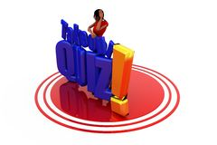 3d woman take our quiz concept Royalty Free Stock Photography