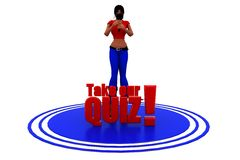 3d woman take our quiz host concept Royalty Free Stock Photography