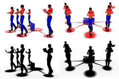 3d woman take quiz concept Collections With Alpha And Shadow Channel Royalty Free Stock Photo