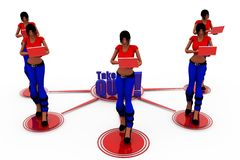 3d woman take quiz concept Royalty Free Stock Images