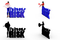3d woman take risk concept Collections With Alpha And Shadow Channel Royalty Free Stock Images