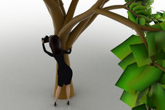3d woman taking photograph from behide three concept Royalty Free Stock Photos