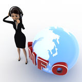 3d woman talking on headphone with info and earth model concept Stock Photo