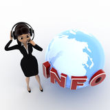 3d woman talking on headphone with info and earth model concept Stock Images