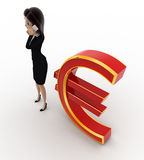 3d woman talking on phone near red euro concept Stock Photo