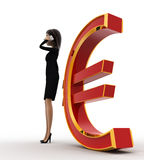 3d woman talking on phone near red euro concept Royalty Free Stock Photo