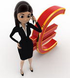 3d woman talking on phone near red euro concept Stock Images