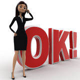 3d woman talking on phone and standing in front OK text with exclamation mark concept Royalty Free Stock Photography