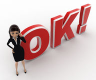 3d woman talking on phone and standing in front OK text with exclamation mark concept Stock Photos