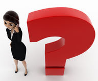 3d woman talking on phone and standing near red question mark concept Stock Image