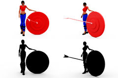 3d woman target concept Collections With Alpha And Shadow Channel Royalty Free Stock Image