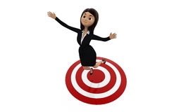 3d woman on target concept Royalty Free Stock Photo