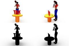 3d woman tax Concept Collections With Alpha And Shadow Channel Stock Images