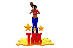 3d woman tax star concept Royalty Free Stock Images
