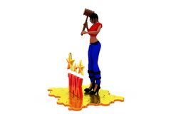 3d woman tax star concept Royalty Free Stock Photo