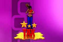 3d woman tax star illustration Stock Photos