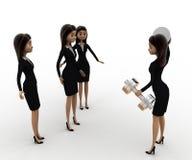 3d woman teach exersice to other women concept Stock Photos