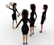 3d woman teach exersice to other women concept Stock Photo