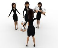 3d woman teach exersice to other women concept Royalty Free Stock Photography