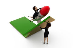 3d woman team pull up arrow concept Royalty Free Stock Photo