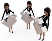 3d woman team puzzle concept Royalty Free Stock Images