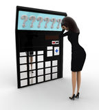 3d woman in tension while looking at question mark on calculator lcd concept Royalty Free Stock Images