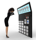 3d woman in tension while looking at question mark on calculator lcd concept Stock Photography