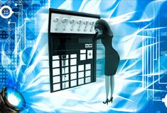 3d woman in tension while looking at question mark on calculator lcd illustration Royalty Free Stock Photography