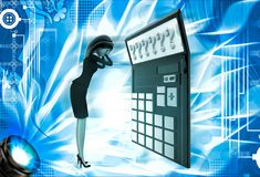 3d woman in tension while looking at question mark on calculator lcd illustration Royalty Free Stock Image
