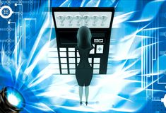 3d woman in tension while looking at question mark on calculator lcd illustration Royalty Free Stock Images