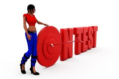 3d woman on test concept Royalty Free Stock Photo