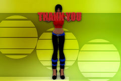 3D woman thank you illustration Royalty Free Stock Images