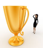 3d woman thinking about big golden cup award concept Stock Photos