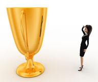 3d woman thinking about big golden cup award concept Stock Photography